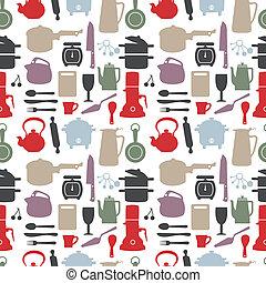 seamless kitchen pattern,vector ill