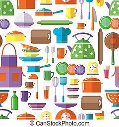 Seamless kitchen tools background