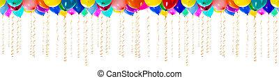 seamless, kleurrijke, ballons, met, wimpels, voor, feestje,...
