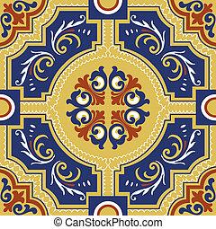 seamless, kleurrijke, ornament, tegels