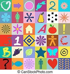 seamless, kleurrijke, pleinen, met, symbolen