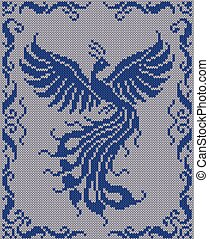 Seamless knitted background - magic bird. Jacquard pattern. Vector illustration  EPS8.