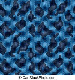 Seamless knitted dark blue camouflage pattern