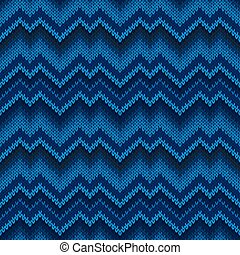Seamless knitted pattern in blue. Zigzag embroidery.