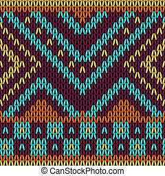 Seamless knitted pattern in ethnic style.