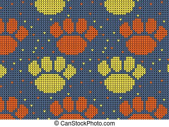 Seamless Knitted Pattern with dog paw Background.