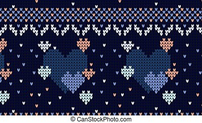 Seamless Knitted Pattern with hearts Background.