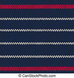 Seamless knitted pattern with red white stripes.