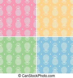 seamless, kollektion, mönster, vektor, ananas, repeterande