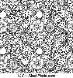 seamless, koronka, kwiatowy wzór, na białym, tło