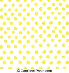 seamless, kropka polki modelują, z, watercolor farba, żółty, circles., wektor, ilustracja, dla, twój, projektować