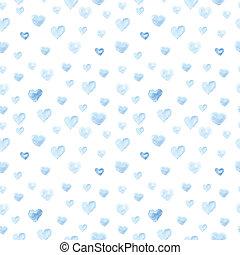 seamless, kropka polki modelują, z, watercolor farba, serce, .