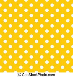 seamless, kropkuje, wektor, żółty, próbka