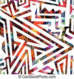 seamless, labyrint, färgad, mönster