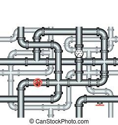 seamless, labyrinth, von, installateurarbeit, leitungsrohre