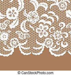 Seamless lace border. Invitation card. - Seamless lace...