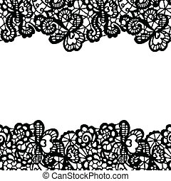 Seamless lace border. Invitation card. - Seamless lace...