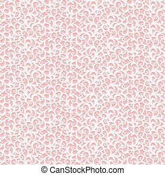 Seamless lace fabric texture. Pink and white openwork pattern background.