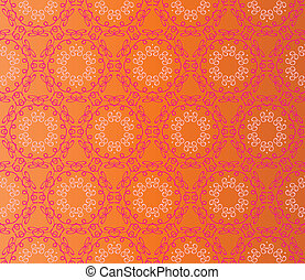 Seamless lace flowers on an orange background