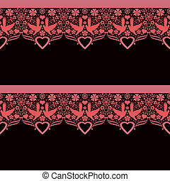 Seamless lace lacy pattern on black
