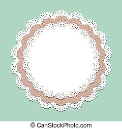 Seamless lace paper napkin - vector frame for invitation, menu, coffee or cake shop