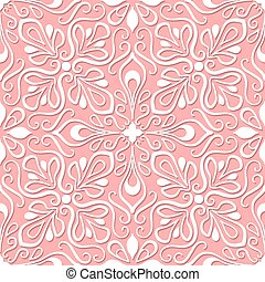 Seamless lace pattern on pink background