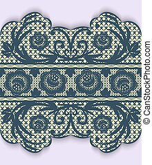 Seamless lace ribbon with flowers