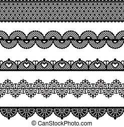 Set of lace trims. Elements can also be used as Illustrator brushes. EPS 8 vector.