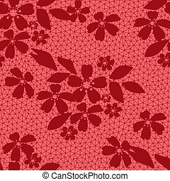 Seamless lacy lace floral pattern on red background