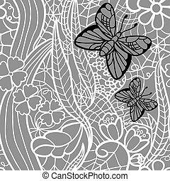 Seamless lacy pattern with flowers