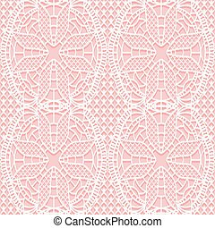 Seamless lacy texture with white flowers on a pink background.