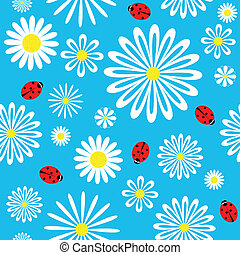 Seamless ladybird chamomile pattern. Vector background.