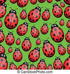 Seamless ladybug background