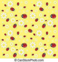 Seamless ladybug pattern. Illustration of a designer on a yellow background