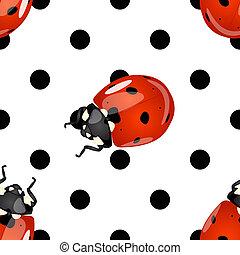 Seamless ladybugs and polka dots pattern
