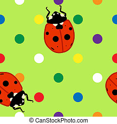 Seamless ladybugs over green background