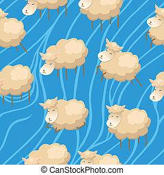 Seamless lambs clouds wallpaper