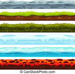 Seamless land layers. Dirt ground landscape game asset, ice with snow caps and lava floor. Cartoon surface vector assets