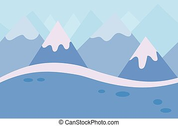 Seamless Landscape of Blue Winter Mountain Background for Game