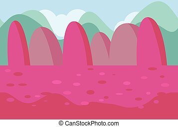 Seamless Landscape of Pink Hills for Game