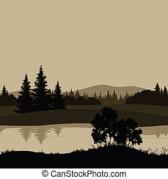 Seamless landscape, trees, river and mountains - Night ...