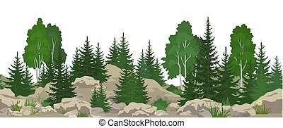 Seamless Landscape with Trees
