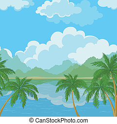seamless, landskab, hav, og, håndflade træ