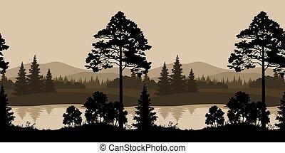 seamless, landskab, træer, flod, og, bjerge