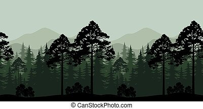 seamless, landskab, træer, og, bjerg, silhuetter