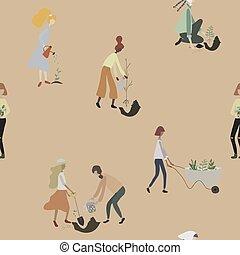 seamless, lattina, gardening., piante, carriola, lavoro giardino, tools:, irrigazione, persone, donne, modello, pala