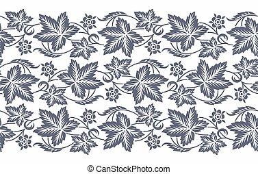 Seamless leaf border design with flower