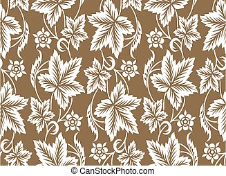 Seamless leaf pattern design with flower