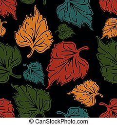 Seamless leaves pattern on black background