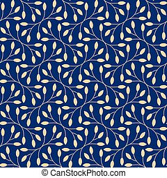 Seamless leaves pattern on blue background